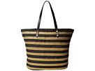 San Diego Hat Company BSB1558 Braid Gold Stripe Tote Bag with Interior Sippered Pocket