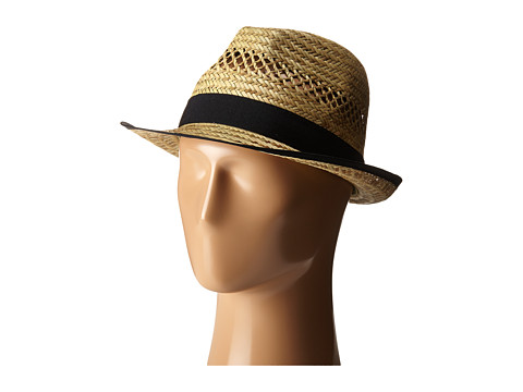 San Diego Hat Company SGF2013 Seagrass Fedora with Grossgrain Trim - Natural/Black