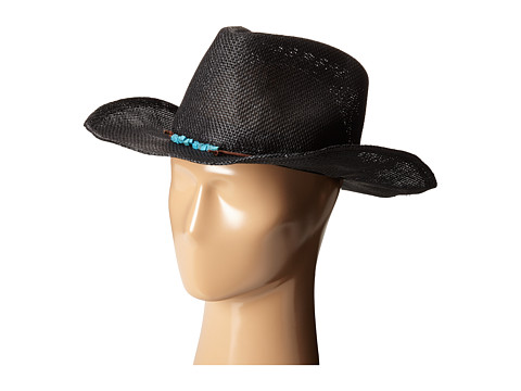San Diego Hat Company PBC2442 Cowboy Hat with Cord Tie and Turquoise Trim - Black