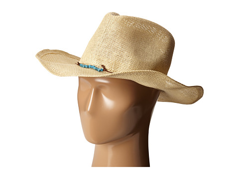 San Diego Hat Company PBC2442 Cowboy Hat with Cord Tie and Turquoise Trim - Natural