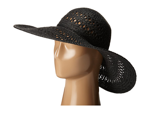 San Diego Hat Company PBL3068 Open Weave Floppy Hat with Self Tie - Black