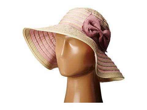 San Diego Hat Company RBM5556 Washed Paper Braid and Ribbon Sunbrim Hat - Blush
