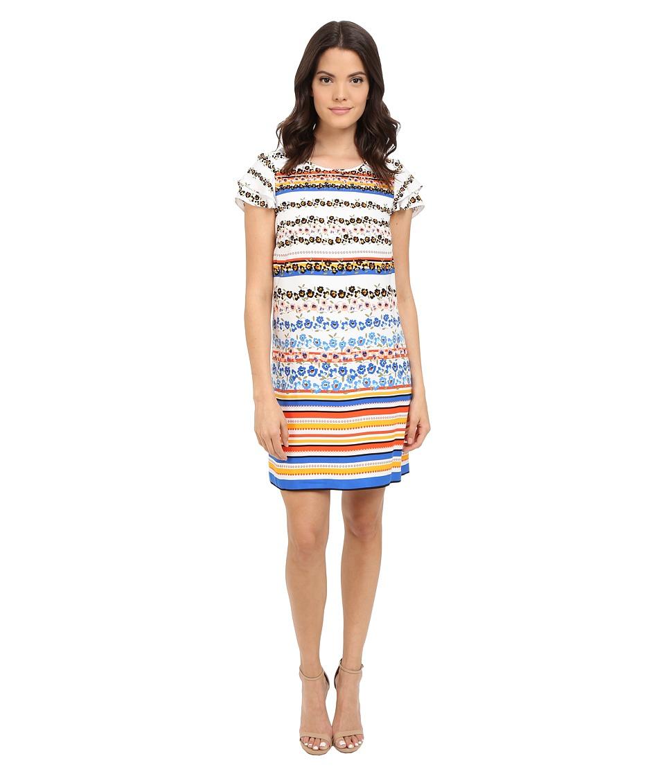 kensie Floral Stripes Dress KS4K7925 Black Combo Womens Dress