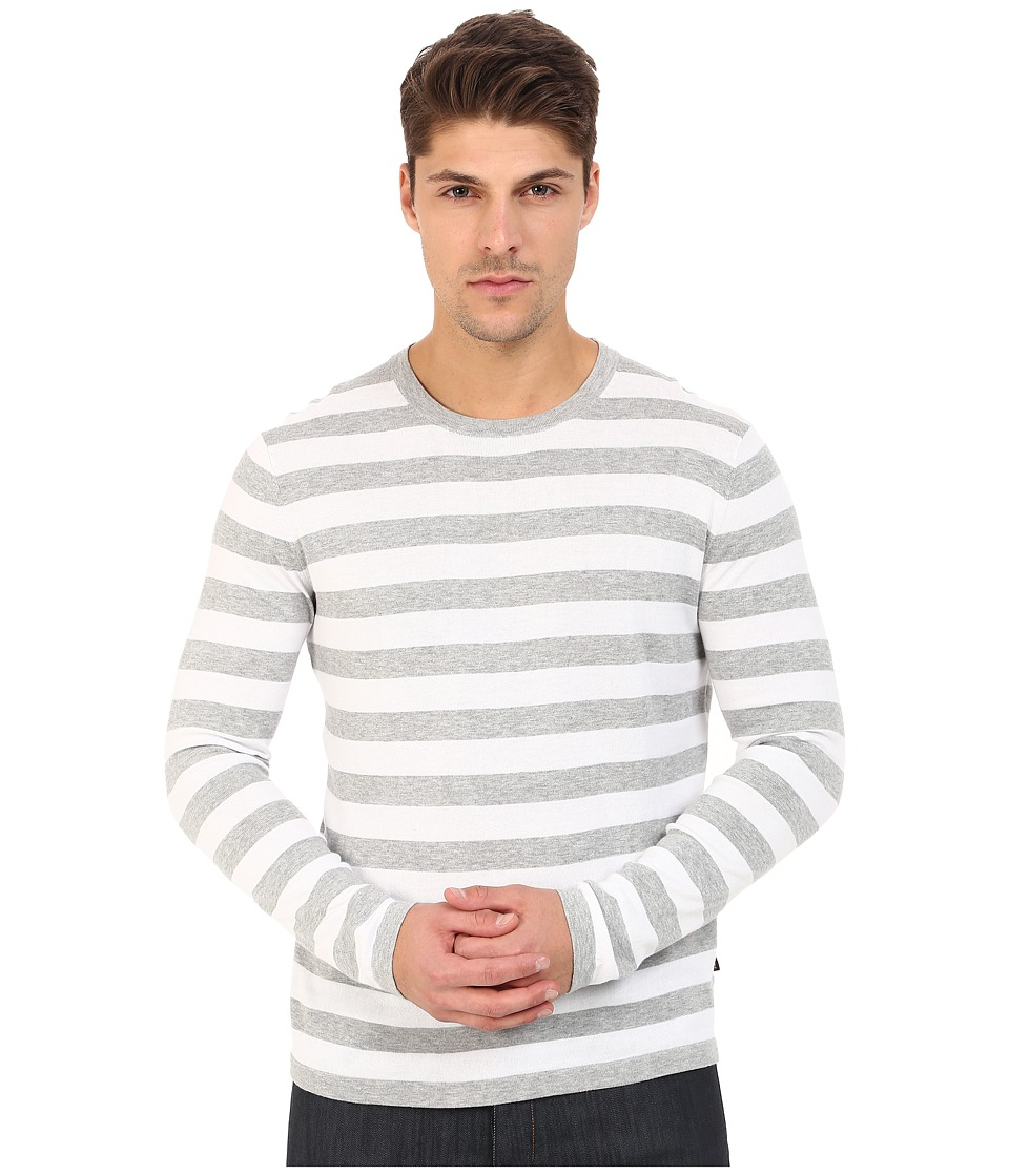 Michael Kors - Striped Cotton Crew Top (Heather Grey) Men