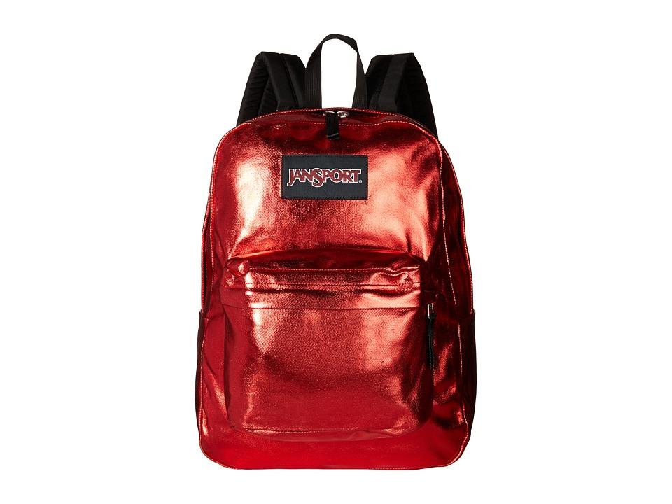 JanSport Super FX Red Metallic Coat Backpack Bags