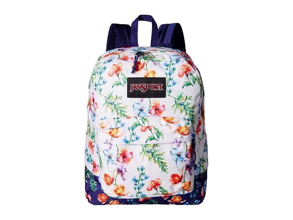 JanSport Black Label SuperBreak Multi White Mountain Meadow Backpack Bags