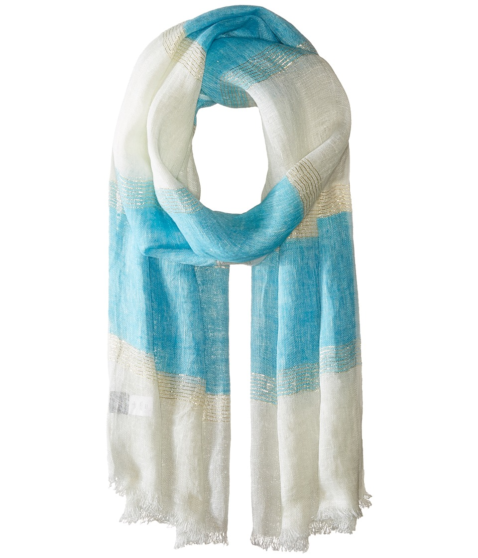 Echo Design Lurex Stripe Wrap Scarf Turquoise Stone Scarves