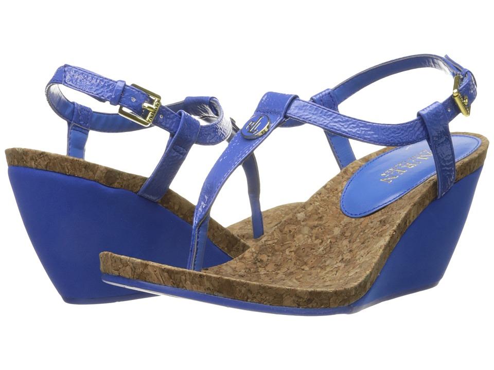 LAUREN Ralph Lauren Reeta Summer Blue Crinkle Soft Patent Womens Sandals