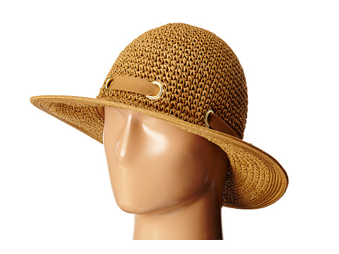 San Diego Hat Company PBM1029 Crochet Floppy Hat with Grommets - Tobacco
