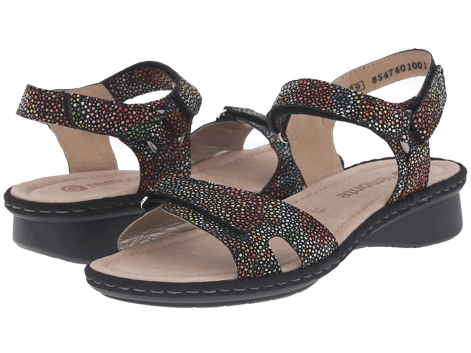 Rieker D2751 Reanne 51 Black Multi Flowerbed Womens Sandals