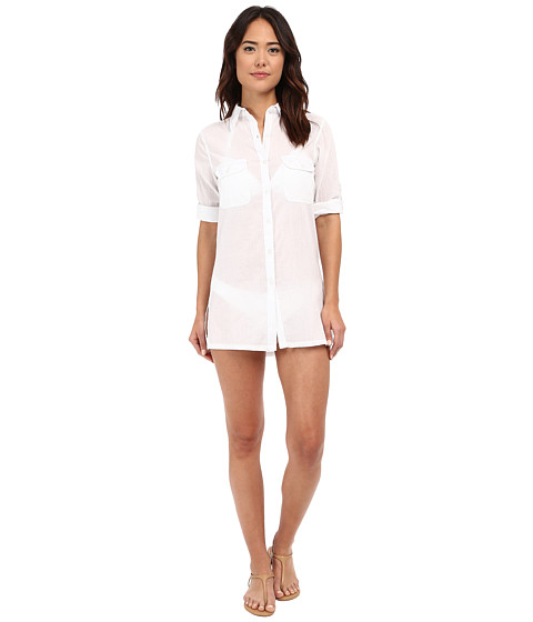 LAUREN Ralph Lauren Crushed Cotton Camp Shirt Cover-Up
