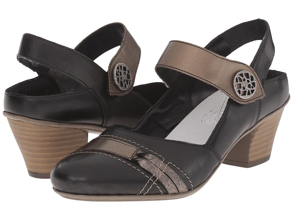 Rieker 45062 Mareike 62 Black/Oro/Altsilber Womens Maryjane Shoes
