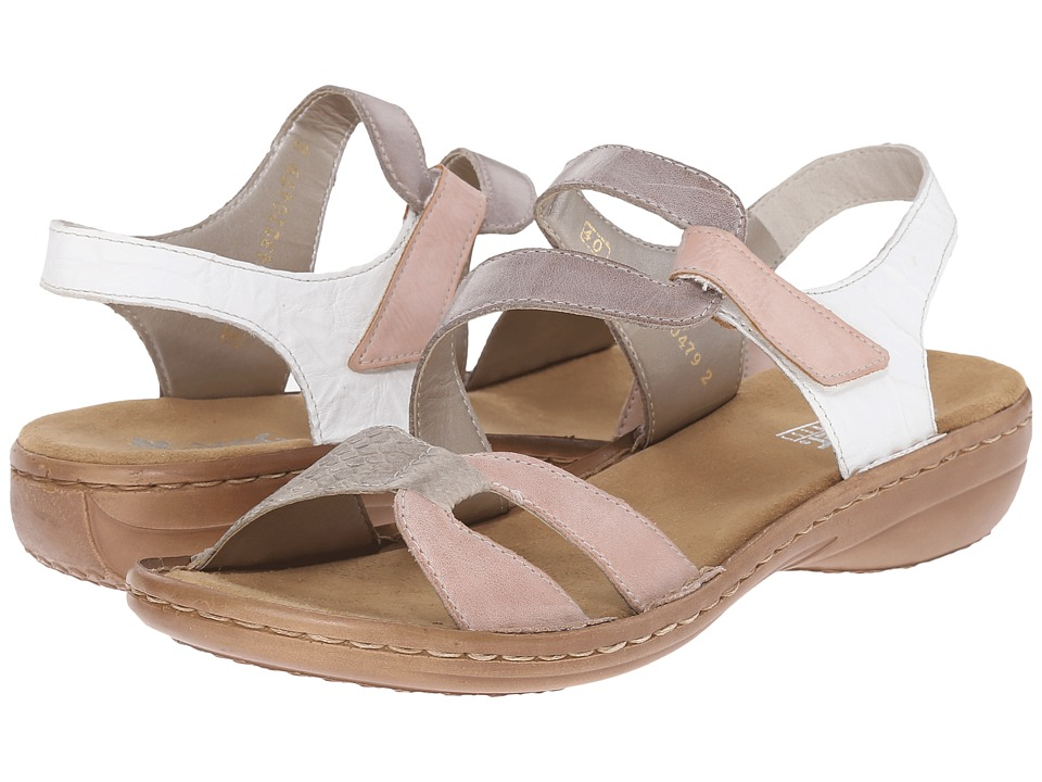Rieker 60866 Regina 66 Rose/Hay/Elefant/White Womens Sandals