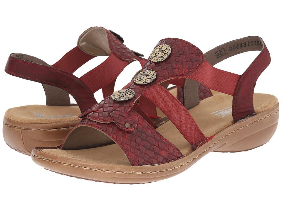 Rieker 608B4 Regina B4 Mohn/Wine Womens Sandals