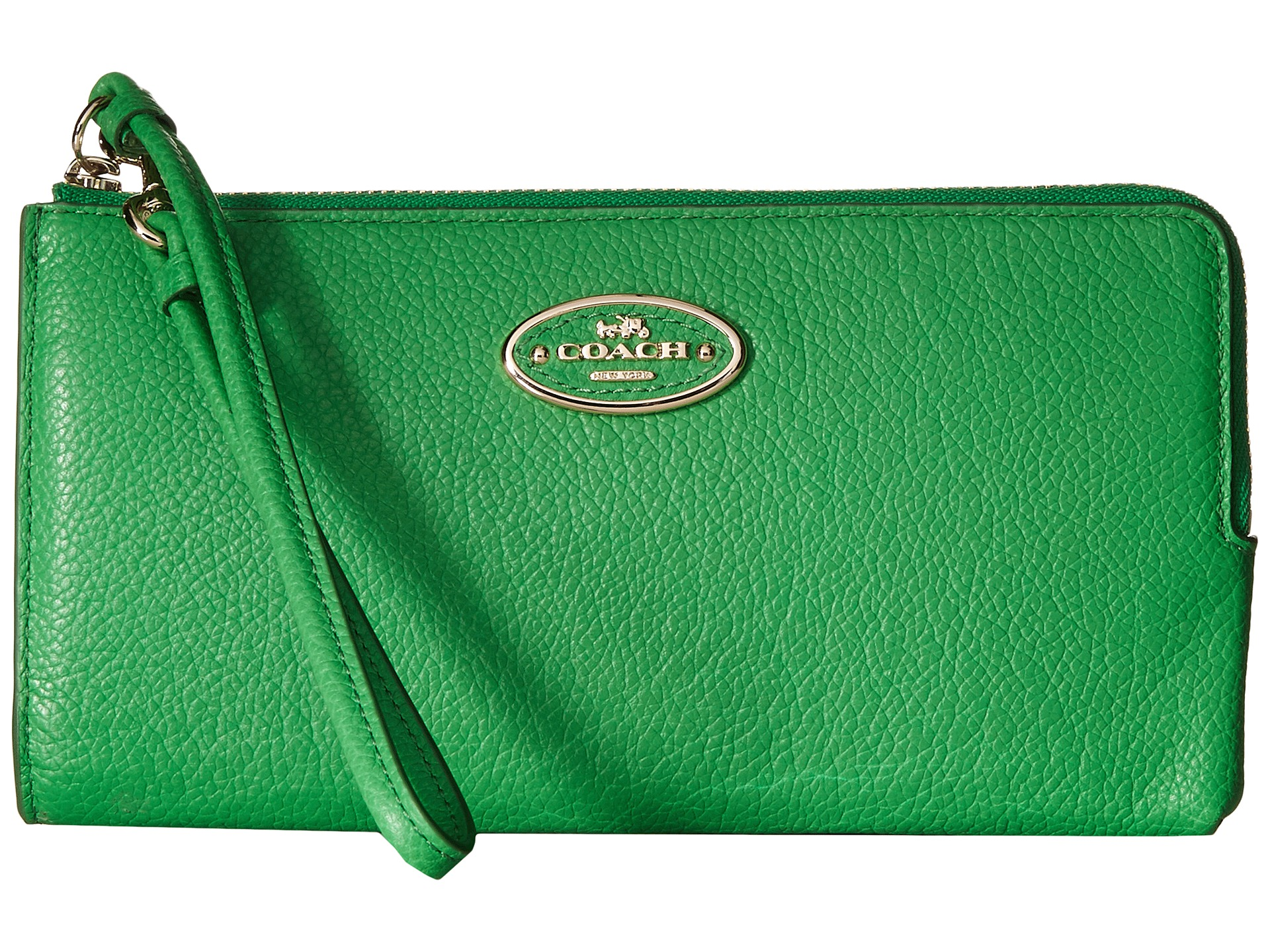 coach gray wallet  coach refined grain leather