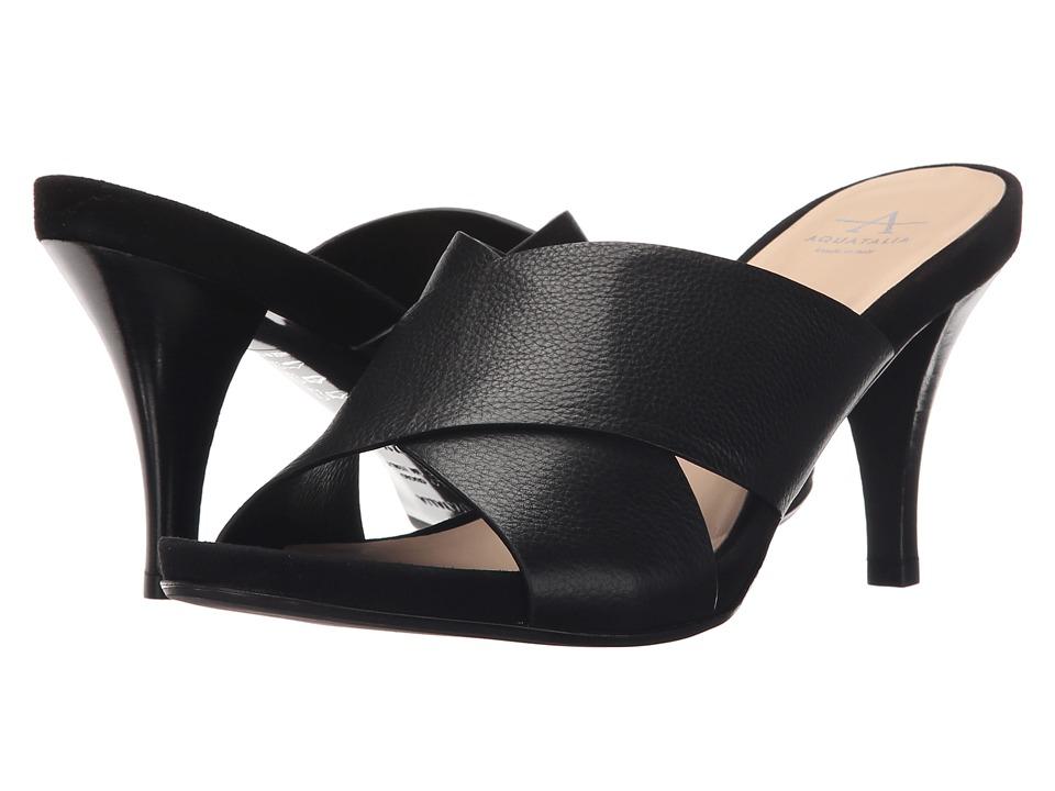 Aquatalia Brea Black Thumbled Calf Womens Shoes