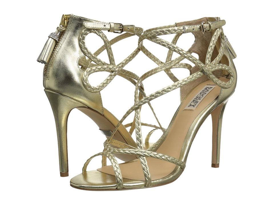 Badgley Mischka Crystal Platino Metallic Leather Womens Wedge Shoes