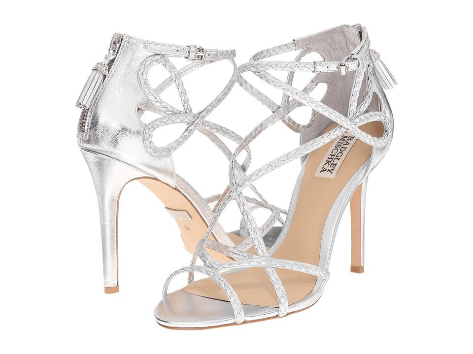 Badgley Mischka Crystal Silver Metallic Leather Womens Wedge Shoes
