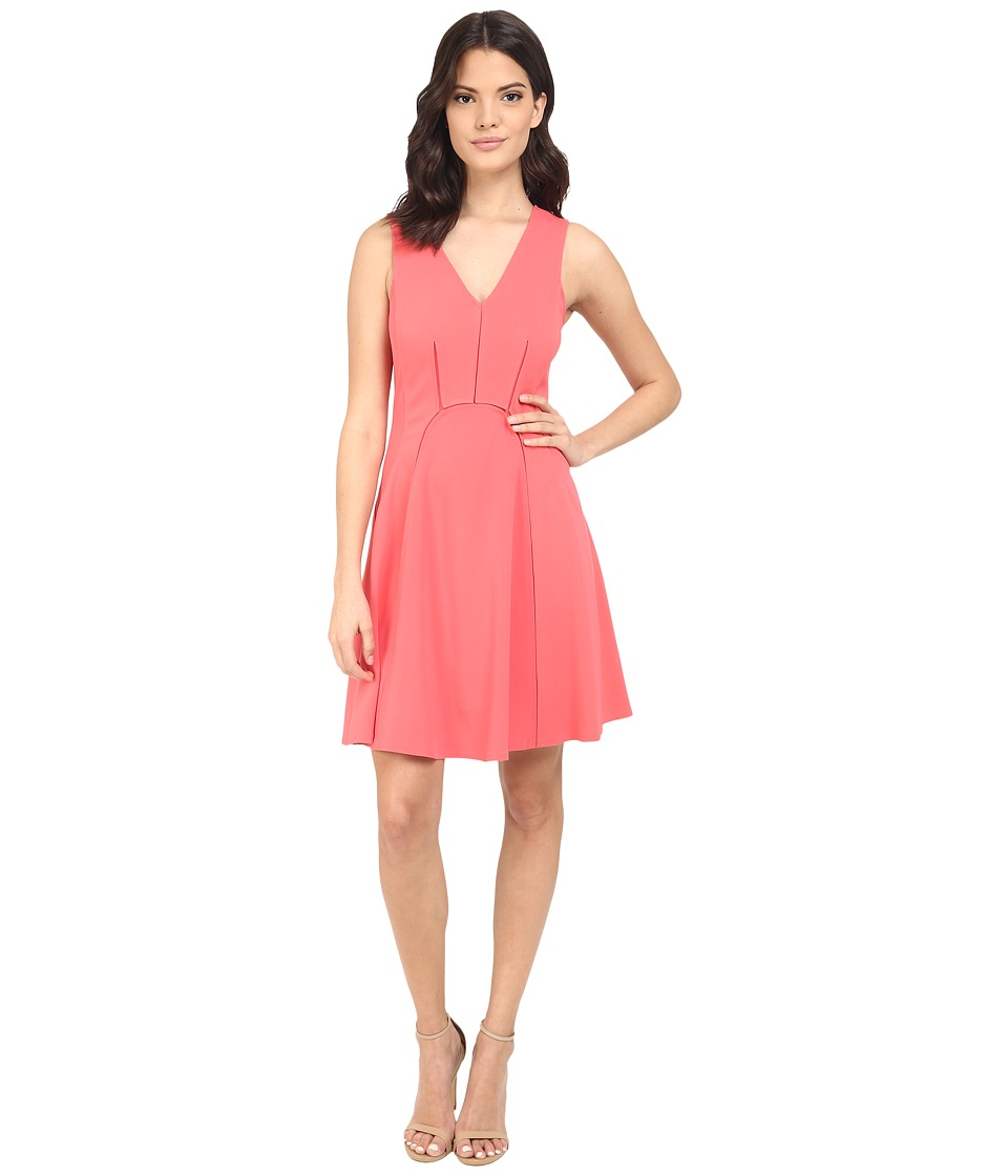 Rebecca Taylor Sleeveless Refined Suiting Dress Melon Pop Womens Dress