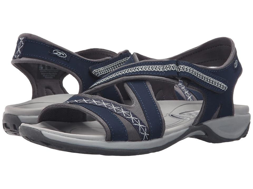 Dr. Scholls Panama Navy Leather Womens Sandals