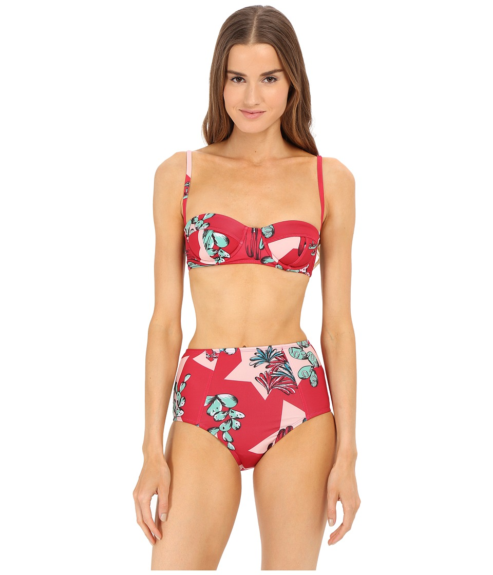 M Missoni Boot Print High Waist Bikini Swimsuit Red Womens Swimwear