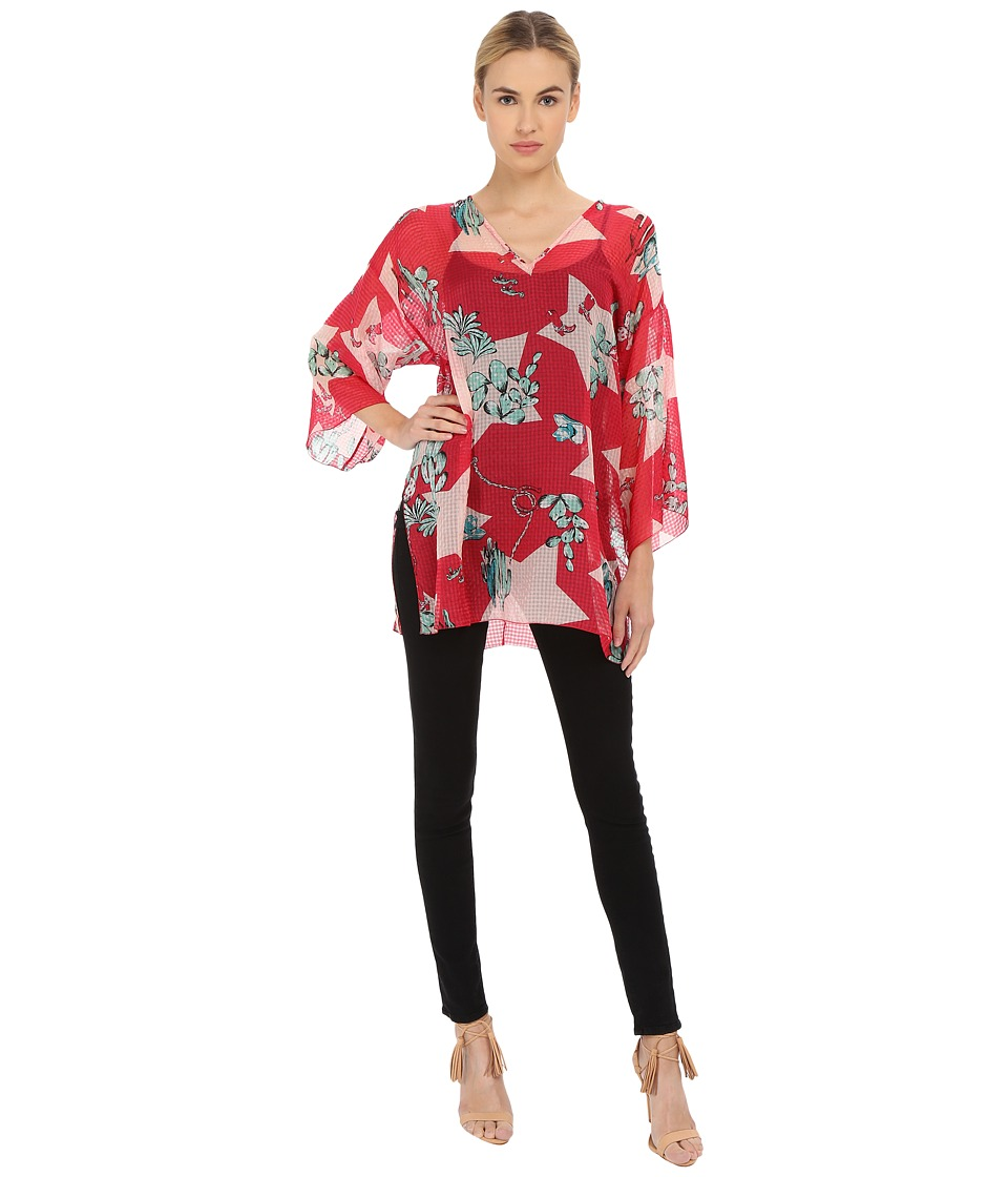 M Missoni Boot Print Vinyl Tunic Red Womens Blouse