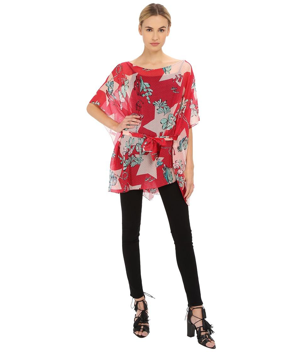 M Missoni Boot Print Tie Waist Kaftan Red Womens Blouse