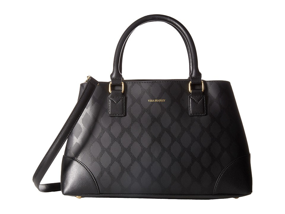 Vera Bradley Emma Satchel Ikat Diamonds Black Satchel Handbags