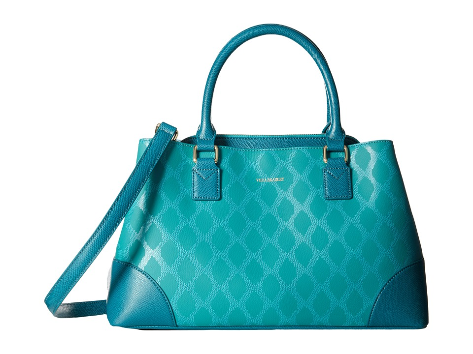Vera Bradley Emma Satchel Ikat Diamonds Teal Satchel Handbags