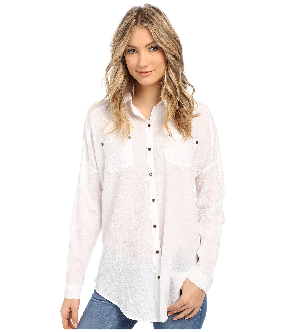 Free People Lover Her Madly Button Down Shirt White Womens Long Sleeve Button Up