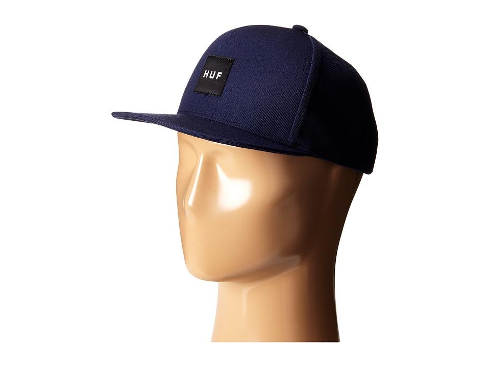 HUF Box Logo Snapback Navy 2 Caps