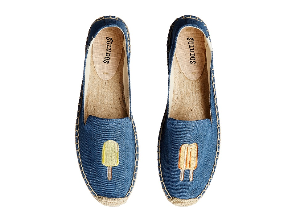 Soludos Smoking Slipper Embroidery Popcicles/Denim Blue Womens Slippers