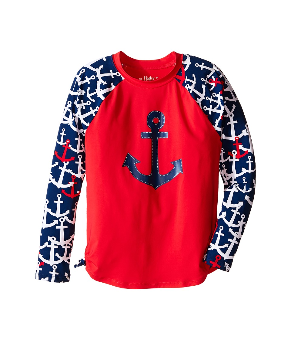 Hatley Kids Anchors Rashguard Toddler/Little Kids/Big Kids Red Girls Swimwear