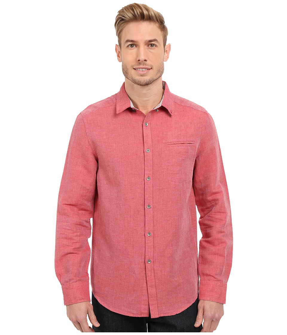 Kenneth Cole Sportswear Long Sleeve Button Down Linen Slub Red Stone Combo Mens Long Sleeve Button Up