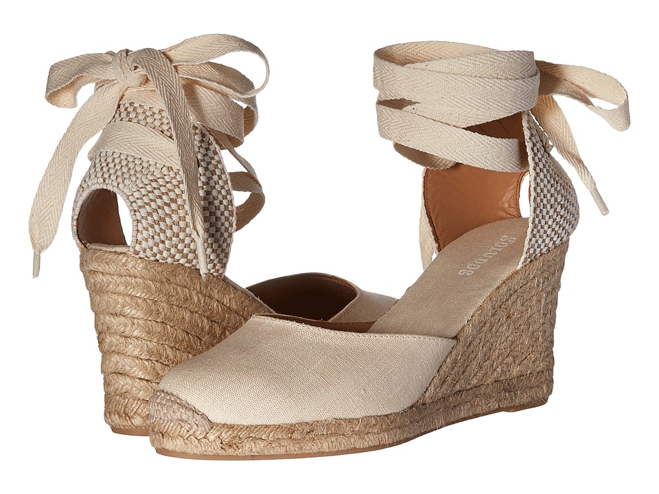 Soludos Tall Wedge Linen (Blush) Wedges