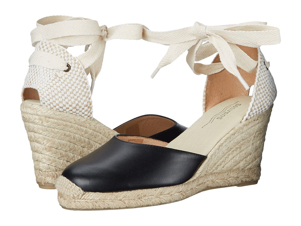 Soludos - Tall Wedge Leather Black Womens Wedge Shoes $110.00 AT vintagedancer.com