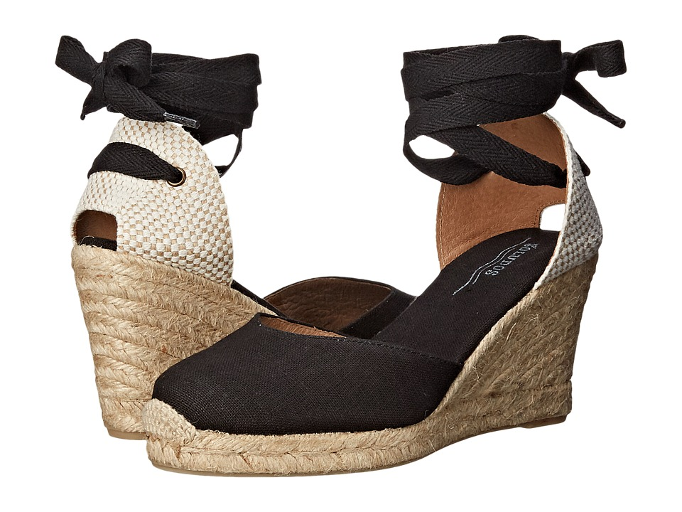 Vintage Style Sandals – 1930s, 1940s, 1950s, 1960s Soludos - Tall Wedge Linen Black Womens Wedge Shoes $94.95 AT vintagedancer.com