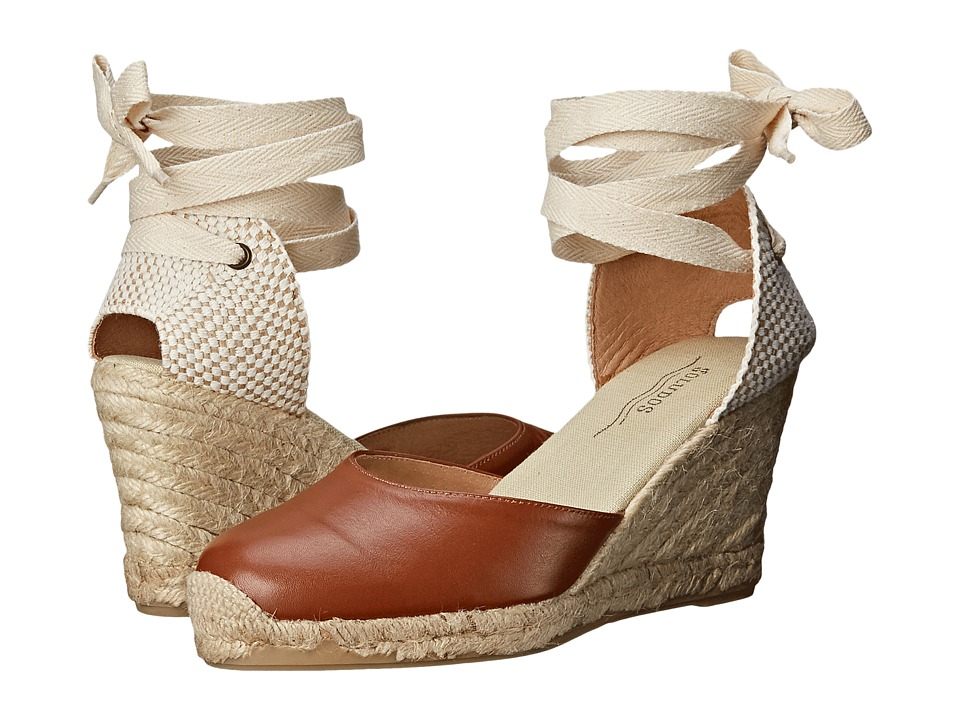 Soludos - Tall Wedge Leather Tan Womens Wedge Shoes $110.00 AT vintagedancer.com