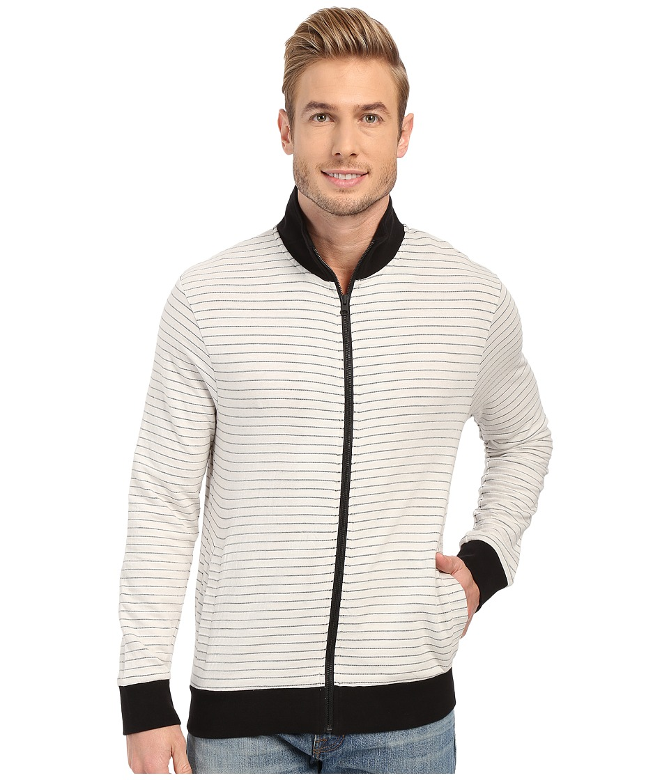 Kenneth Cole Sportswear Striped Knit Jacket White Mens Clothing