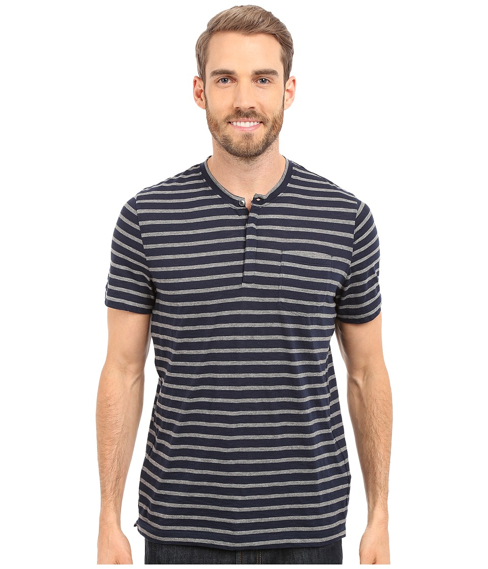 Kenneth Cole Sportswear Stripe Henley w/ Pocket Indigo Mens Short Sleeve Knit