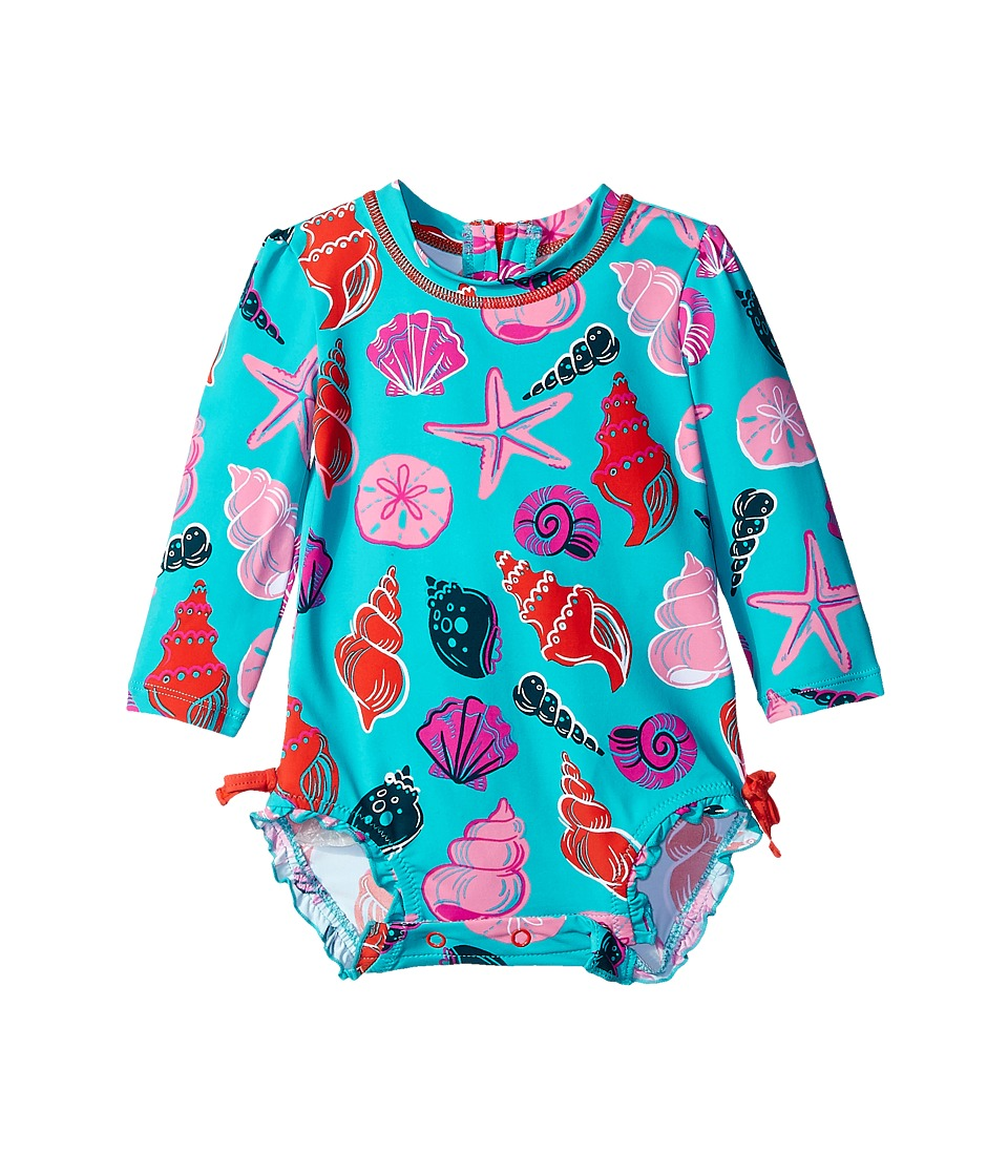 Hatley Kids Beach Shells Rashguard Infant Aqua Girls Swimsuits One Piece