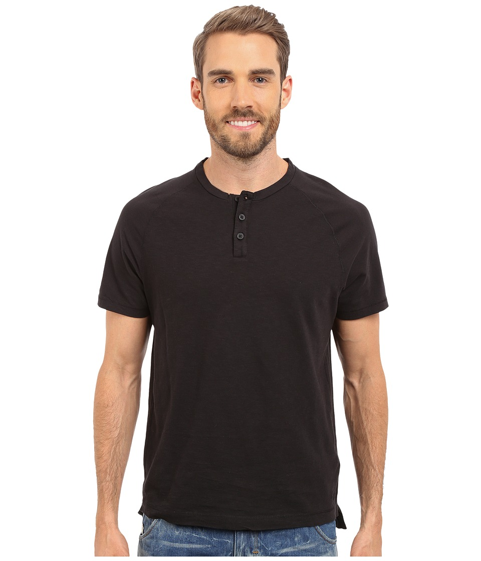 Kenneth Cole Sportswear Dressy Slub Henley Black Mens Short Sleeve Knit