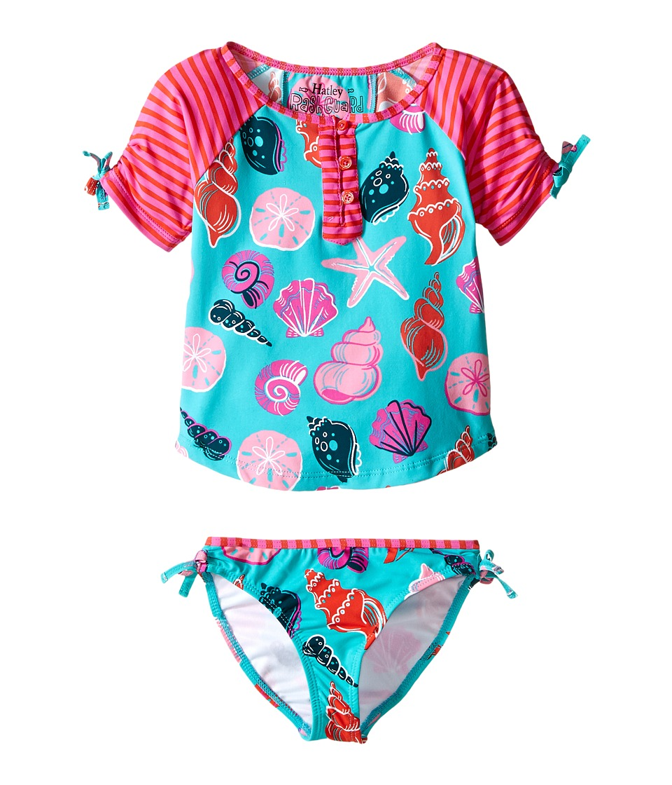 Hatley Kids Beach Shells Rashguard Tankini Sets Toddler/Little Kids/Big Kids Aqua Girls Swimwear Sets