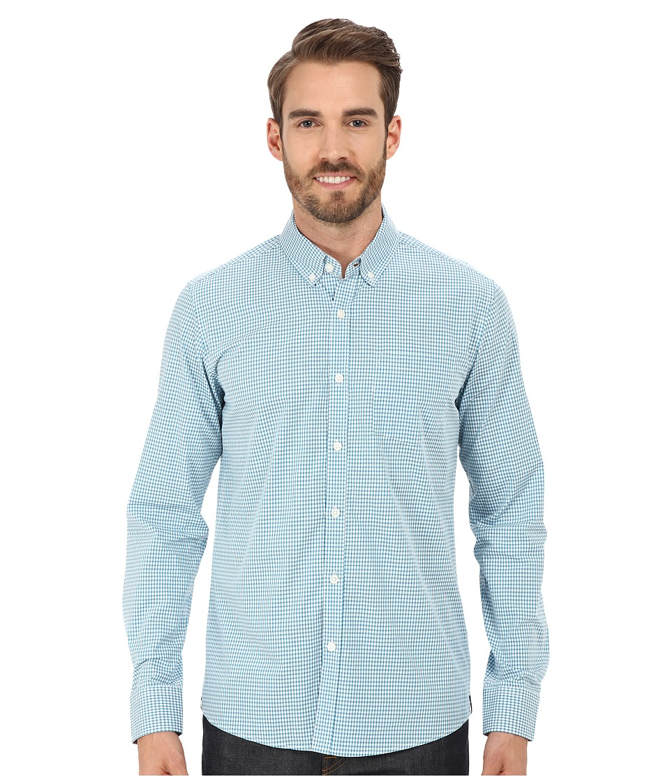 Kenneth Cole Sportswear Long Sleeve Slim Button Down Promo Teal Combo Mens Long Sleeve Button Up