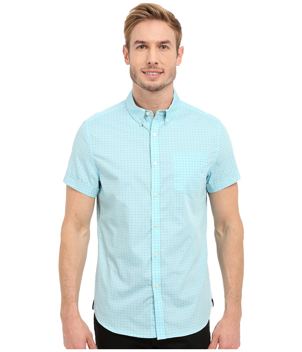 Kenneth Cole Sportswear Slim Fit Printed Button Front Shirt Glacier Combo Mens Short Sleeve Button Up
