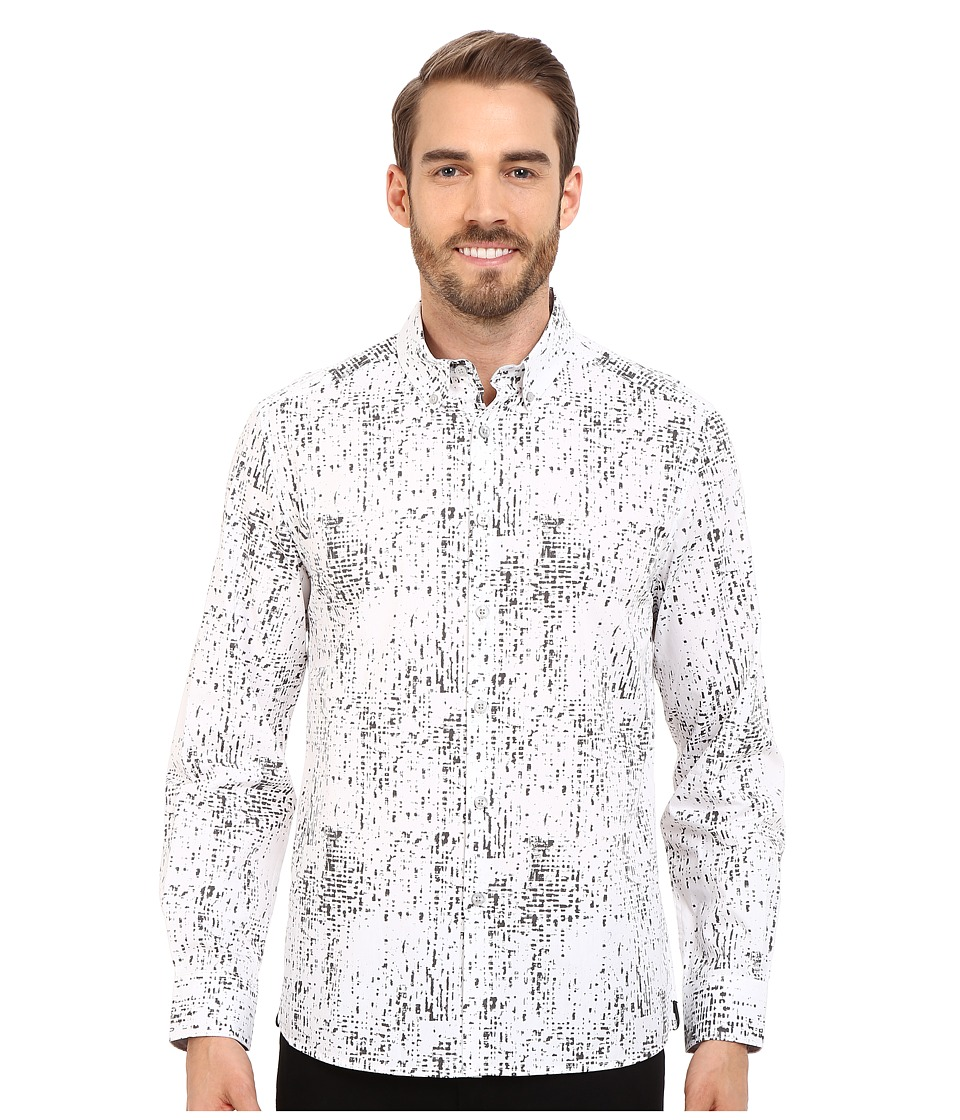 Kenneth Cole Sportswear Abstract Printed Button Front Shirt Ash Grey Combo Mens Long Sleeve Button Up