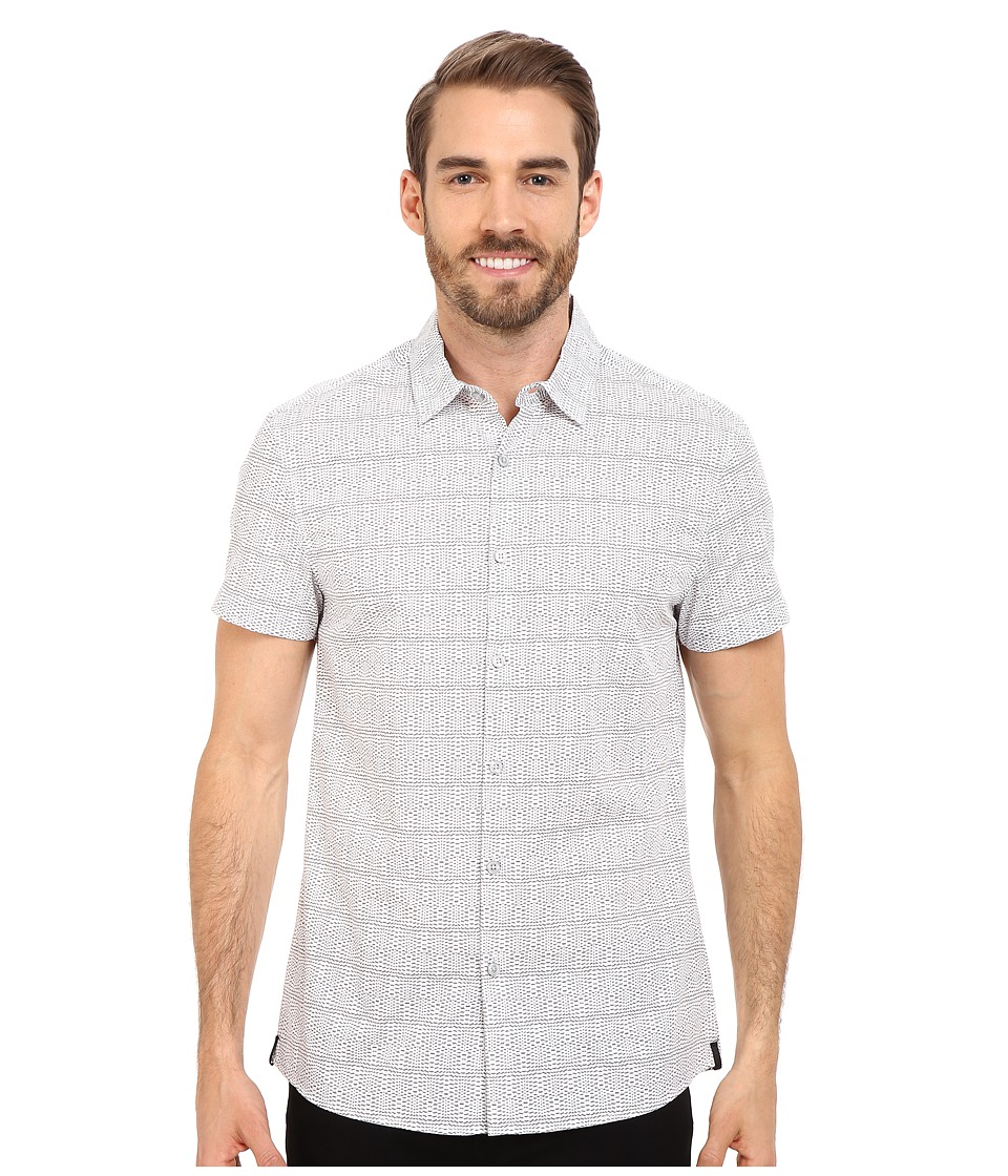 Kenneth Cole Sportswear Wave Printed Button Front Shirt White Combo Mens Short Sleeve Button Up