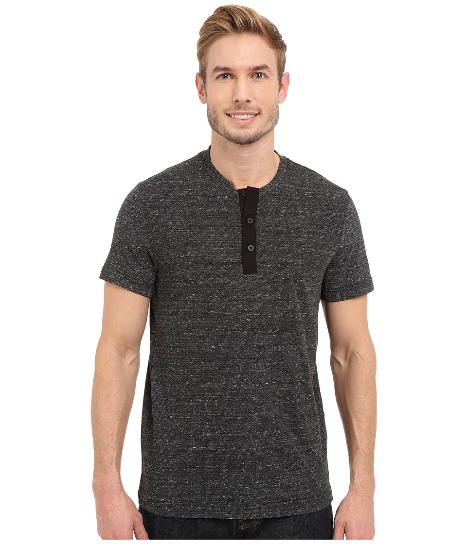 Kenneth Cole Sportswear Geo Printed Henley Black Combo Mens Short Sleeve Pullover