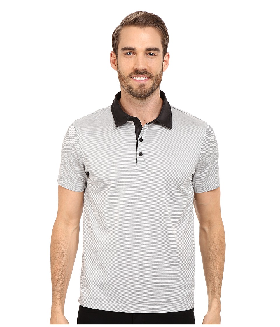Kenneth Cole Sportswear Diamond Jacquard Polo Black Mens Short Sleeve Knit