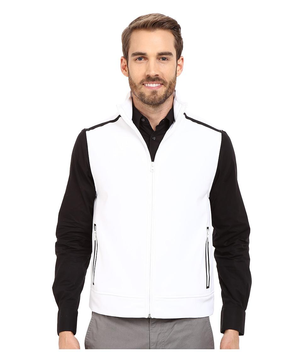 Kenneth Cole Sportswear Contrast Zip Front Vest White Mens Vest